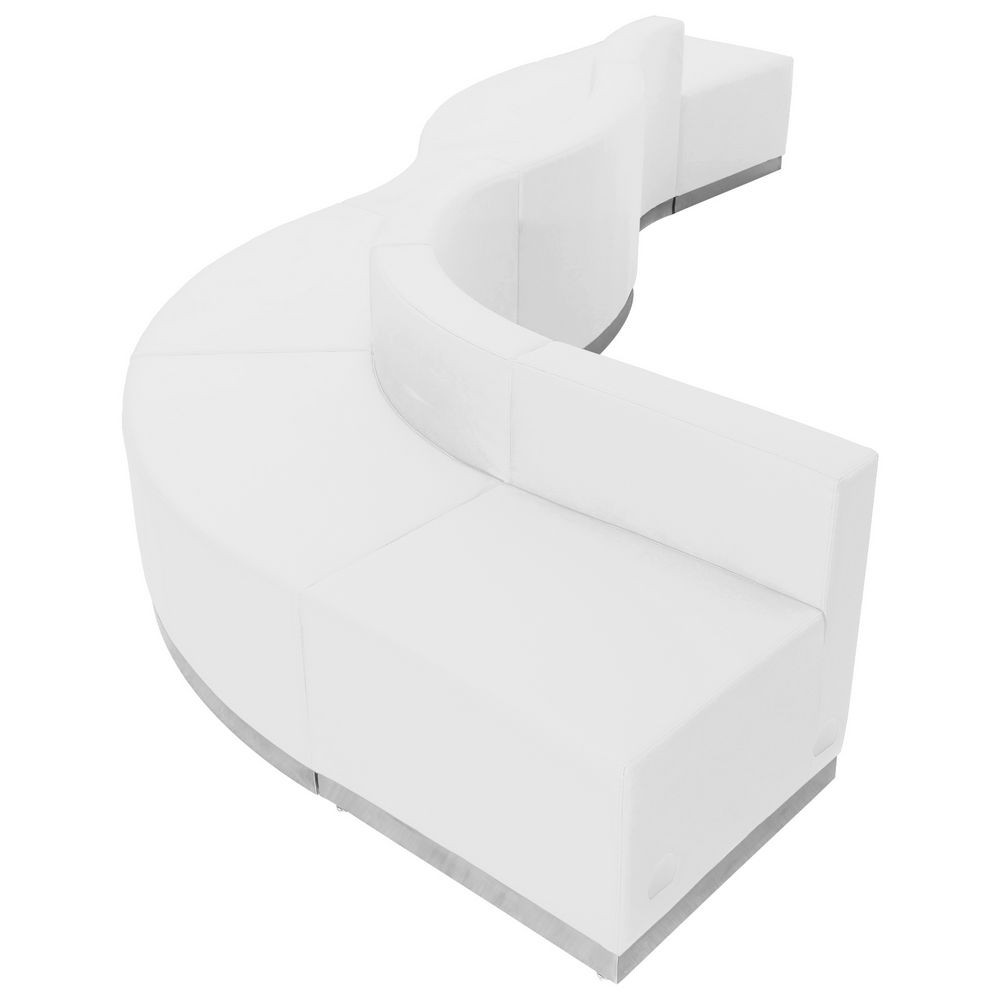 Flash Furniture ZB-803-580-SET-WH-GG HERCULES Alon Series White Leather Reception Configuration, 6 Piece