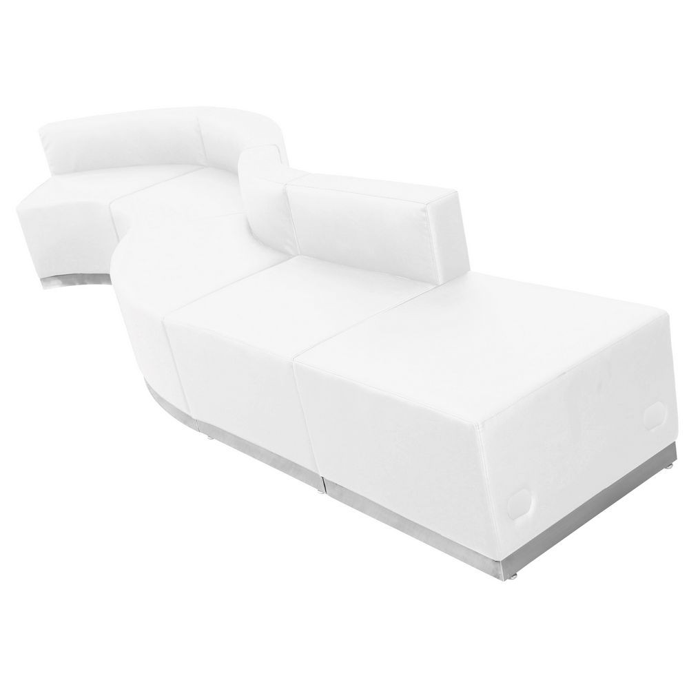 Flash Furniture ZB-803-590-SET-WH-GG HERCULES Alon Series White Leather Reception Configuration, 5 Piece
