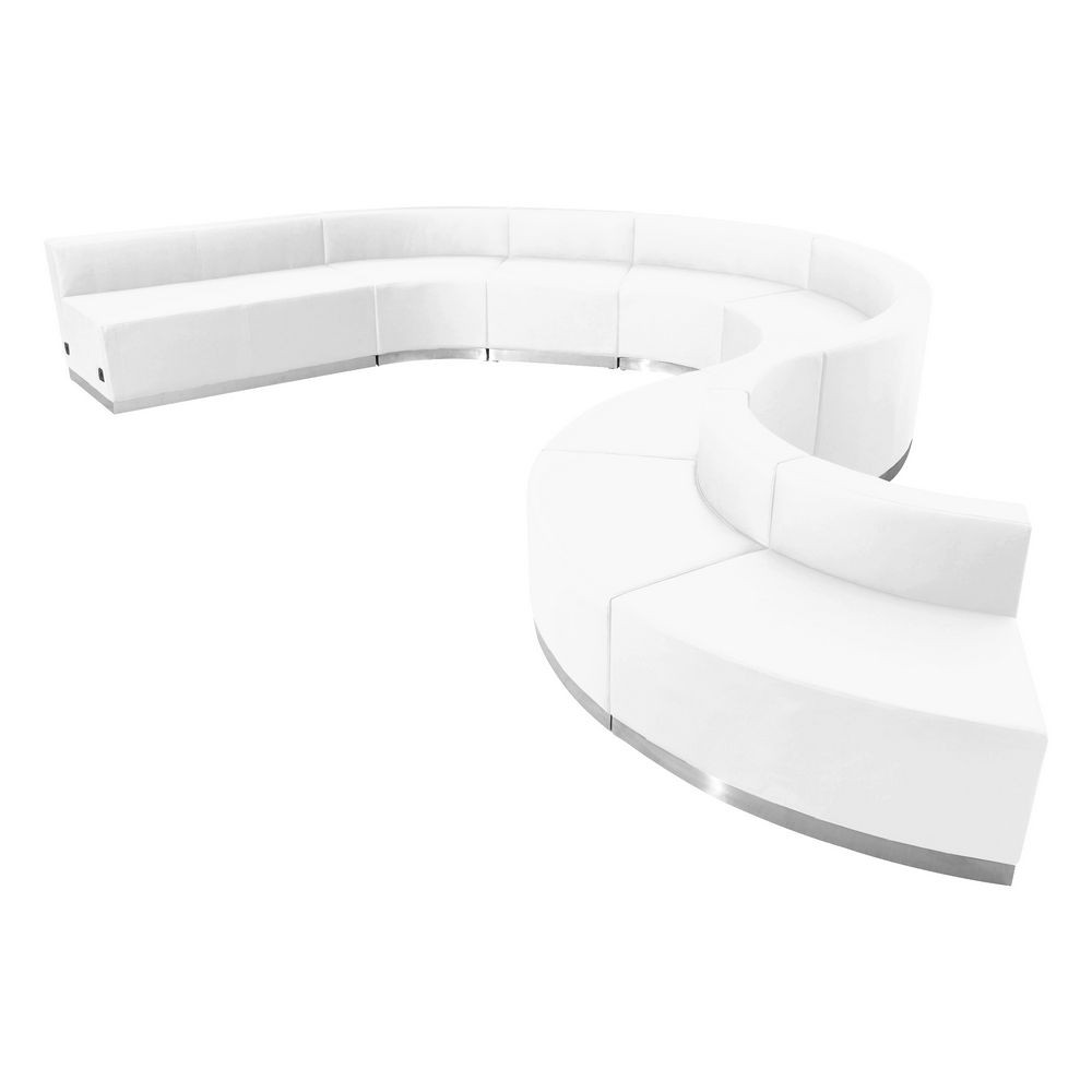 Flash Furniture ZB-803-600-SET-WH-GG HERCULES Alon Series White Leather Reception Configuration, 9 Piece