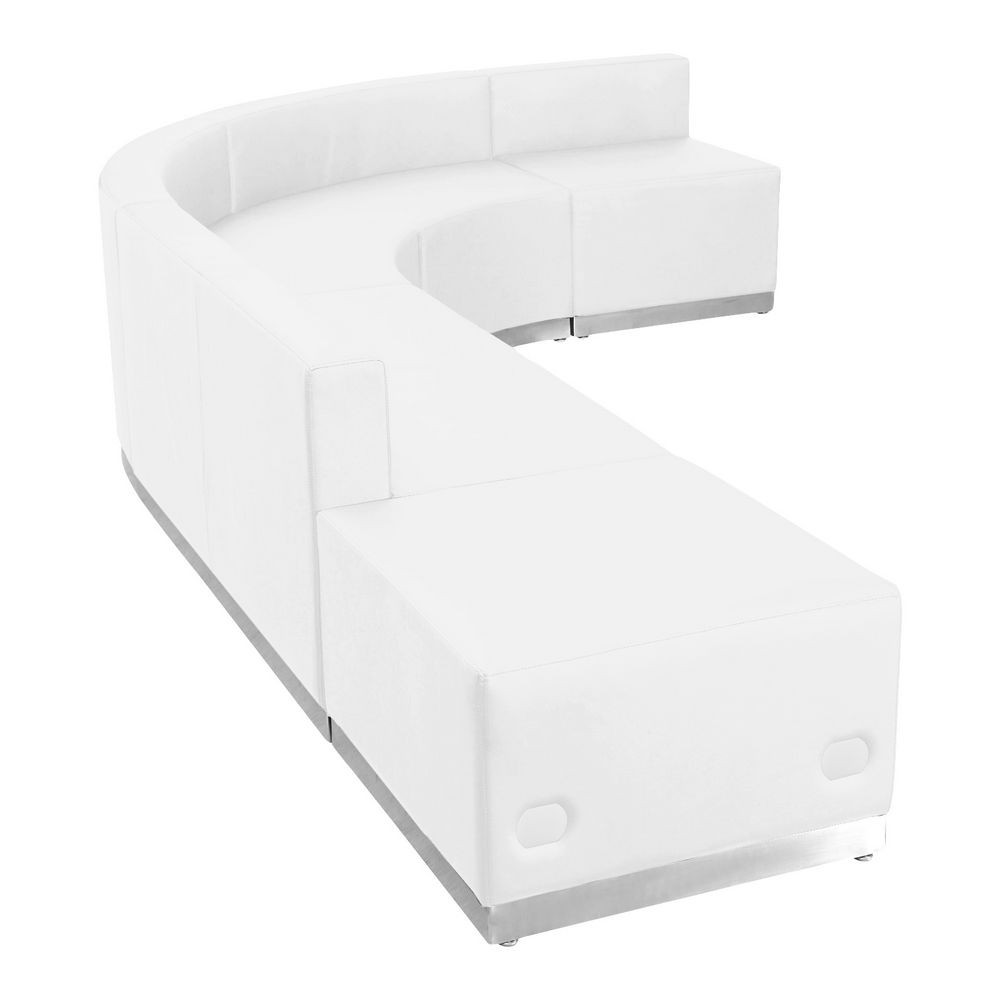 Flash Furniture ZB-803-610-SET-WH-GG HERCULES Alon Series White Leather Reception Configuration, 5 Piece