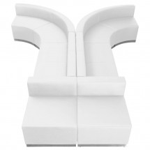 Flash Furniture ZB-803-620-SET-WH-GG HERCULES Alon Series White Leather Reception Configuration, 8 Piece