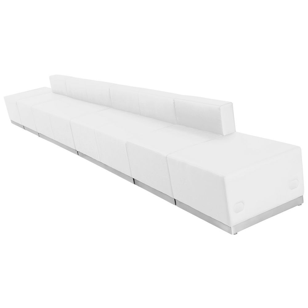 Flash Furniture ZB-803-640-SET-WH-GG HERCULES Alon Series White Leather Reception Configuration, 6 Piece
