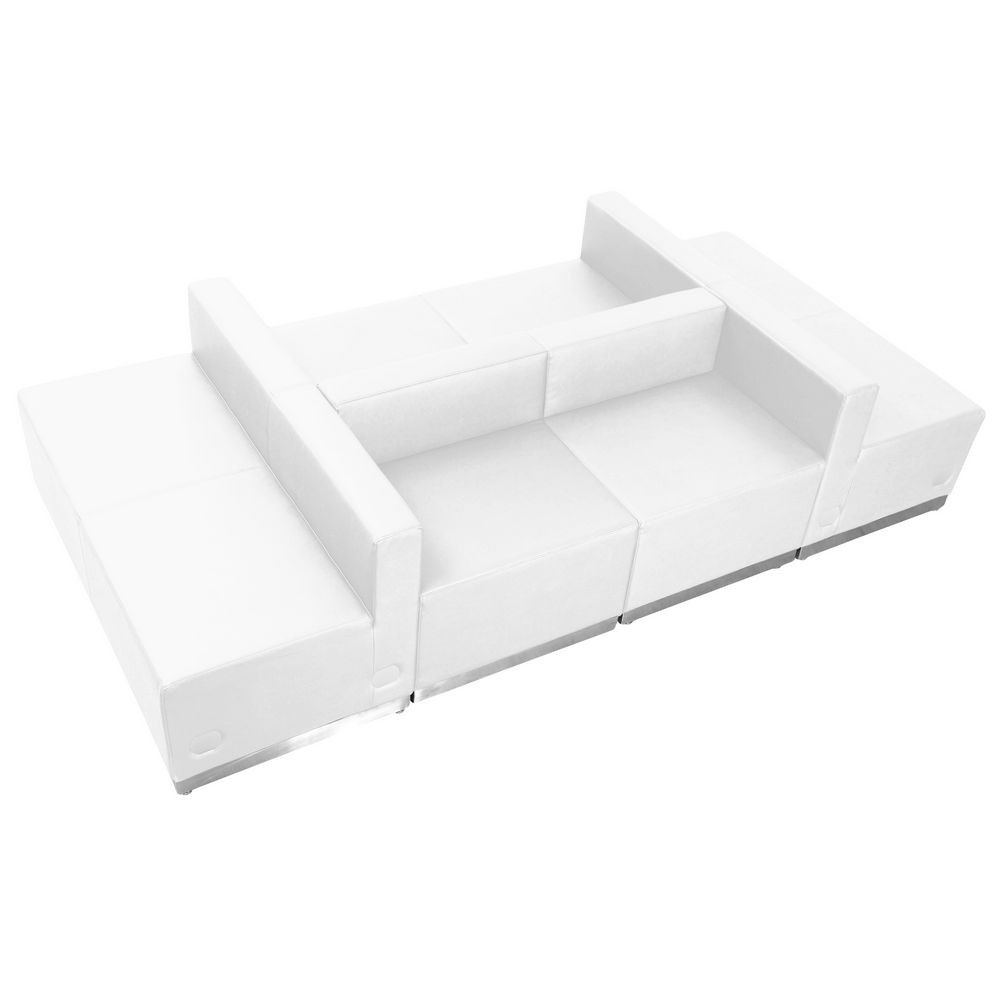 Flash Furniture ZB-803-650-SET-WH-GG HERCULES Alon Series White Leather Reception Configuration, 6 Piece