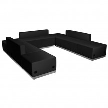 Flash Furniture ZB-803-660-SET-BK-GG HERCULES Alon Series Black Leather Reception Ottoman Configuration, 7-Pieces