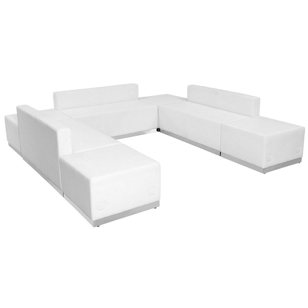 Flash Furniture ZB-803-660-SET-WH-GG HERCULES Alon Series White Leather Reception Ottoman Configuration, 7-Pieces
