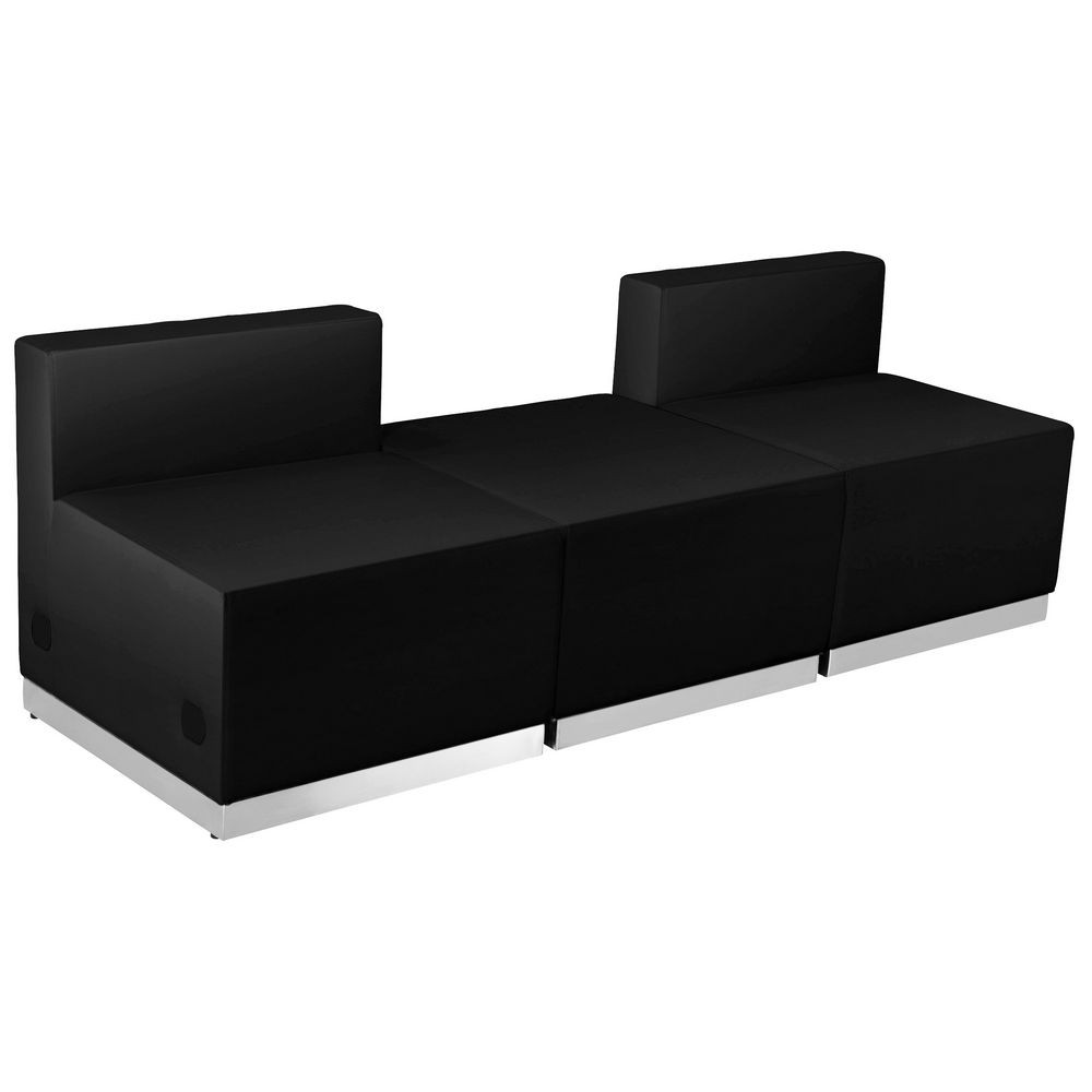 Flash Furniture ZB-803-670-SET-BK-GG HERCULES Alon Series Black Leather Reception Ottoman Configuration, 3-Pieces