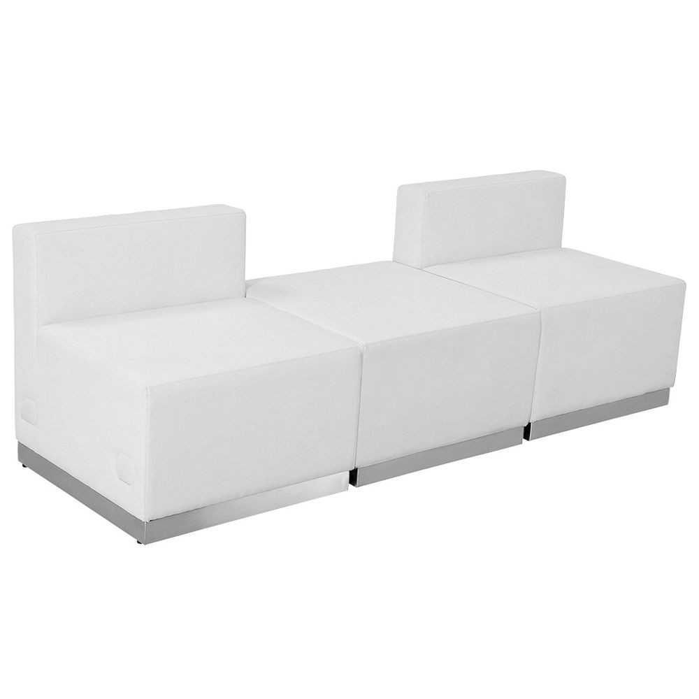 Flash Furniture ZB-803-670-SET-WH-GG HERCULES Alon Series White Leather Reception Ottoman Configuration, 3-Pieces