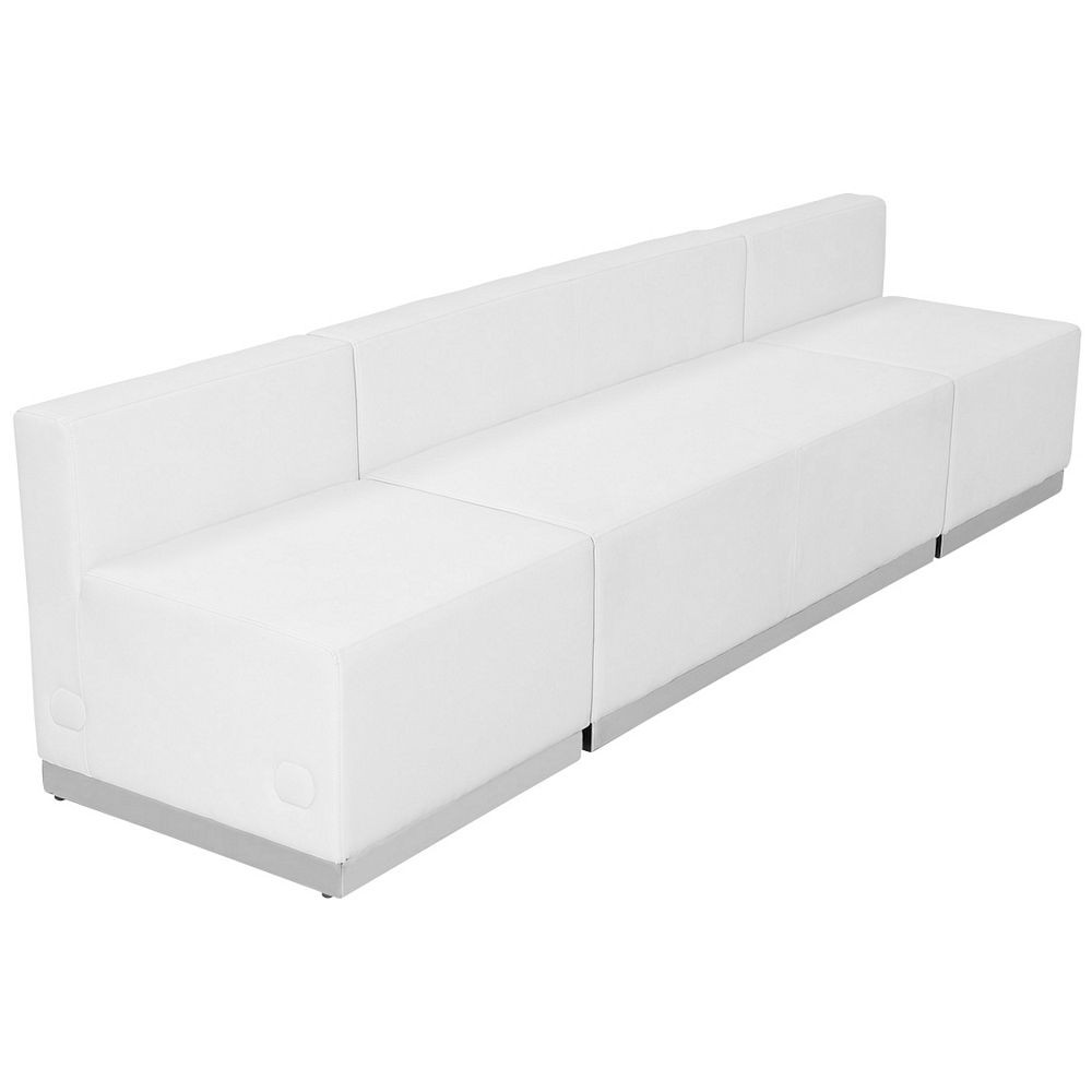 Flash Furniture ZB-803-680-SET-WH-GG HERCULES Alon Series White Leather Reception Loveseat Configuration, 3-Pieces