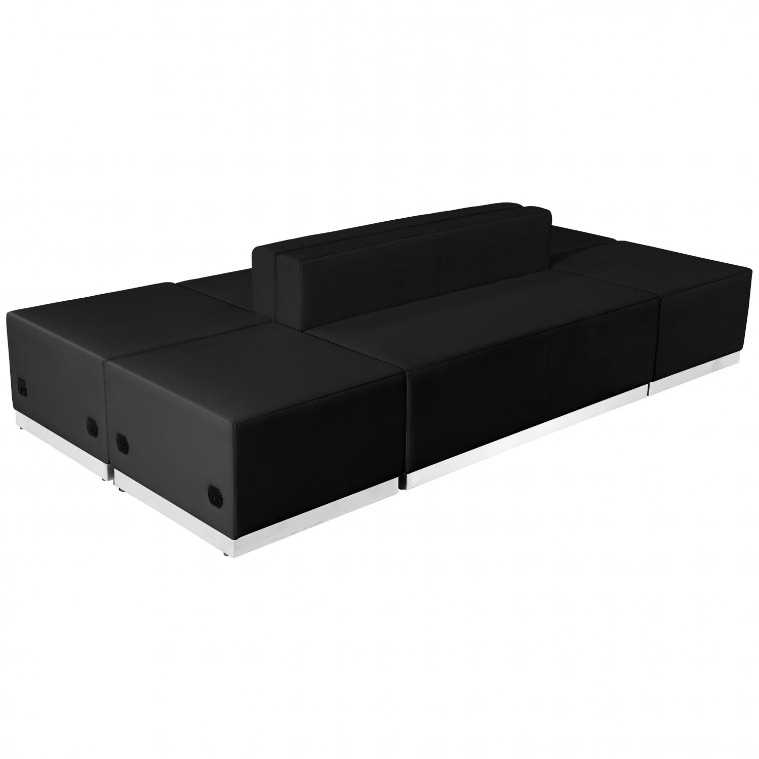 Flash Furniture ZB-803-690-SET-BK-GG HERCULES Alon Series Black Leather Reception Ottoman Configuration, 6-Pieces