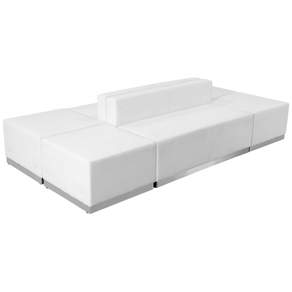 Flash Furniture ZB-803-690-SET-WH-GG HERCULES Alon Series White Leather Reception Ottoman Configuration, 6-Pieces