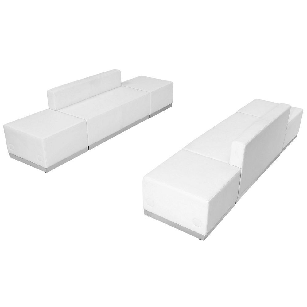 Flash Furniture ZB-803-700-SET-WH-GG HERCULES Alon Series White Leather Reception Ottoman Configuration, 6-Pieces