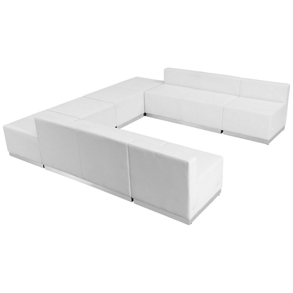 Flash Furniture ZB-803-710-SET-WH-GG HERCULES Alon Series White Leather Reception Loveseat Configuration, 8-Pieces