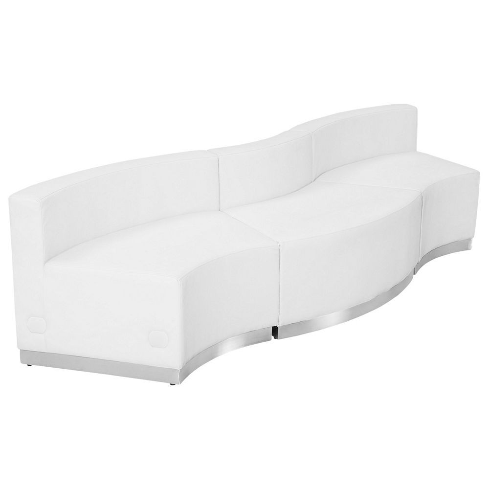 Flash Furniture ZB-803-720-SET-WH-GG HERCULES Alon Series White Leather Reception Configuration, 3-Pieces