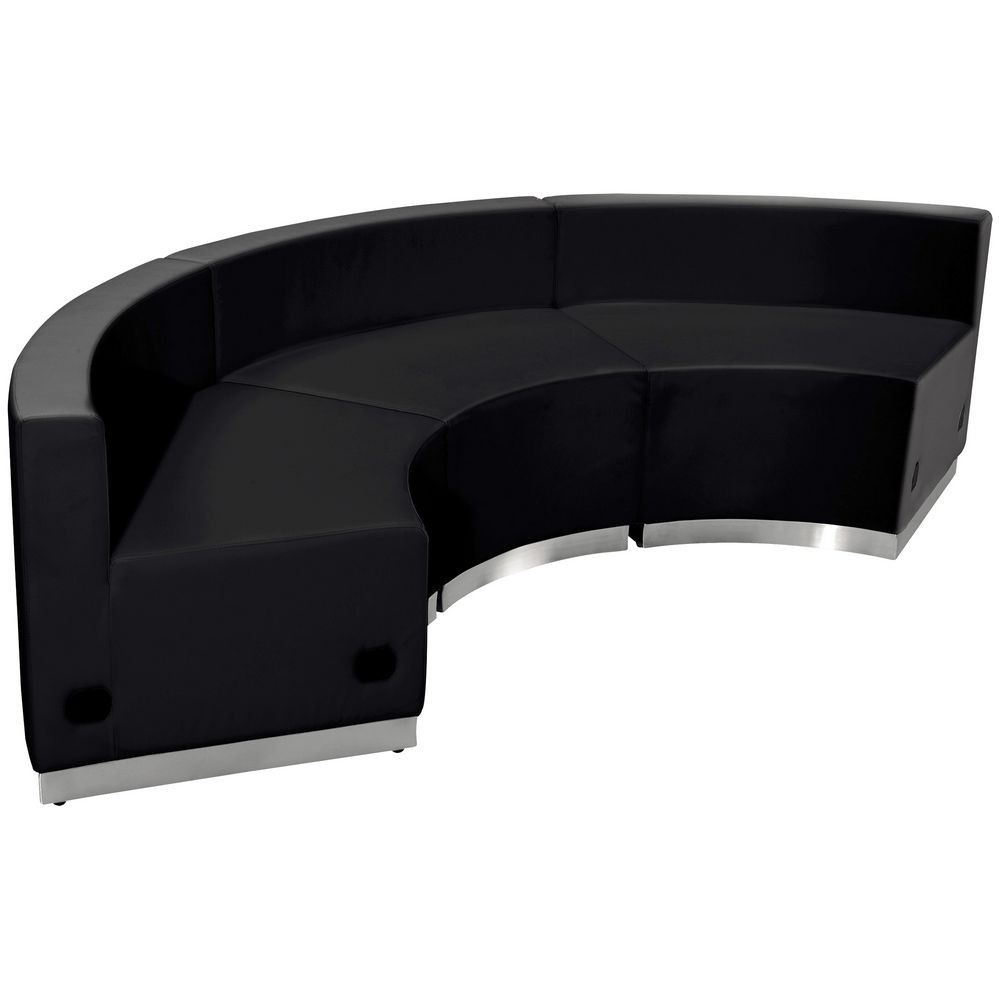 Flash Furniture ZB-803-740-SET-BK-GG HERCULES Alon Series Black Leather Reception Configuration, 3-Pieces