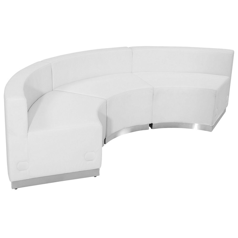 Flash Furniture ZB-803-740-SET-WH-GG HERCULES Alon Series White Leather Reception Configuration, 3-Pieces