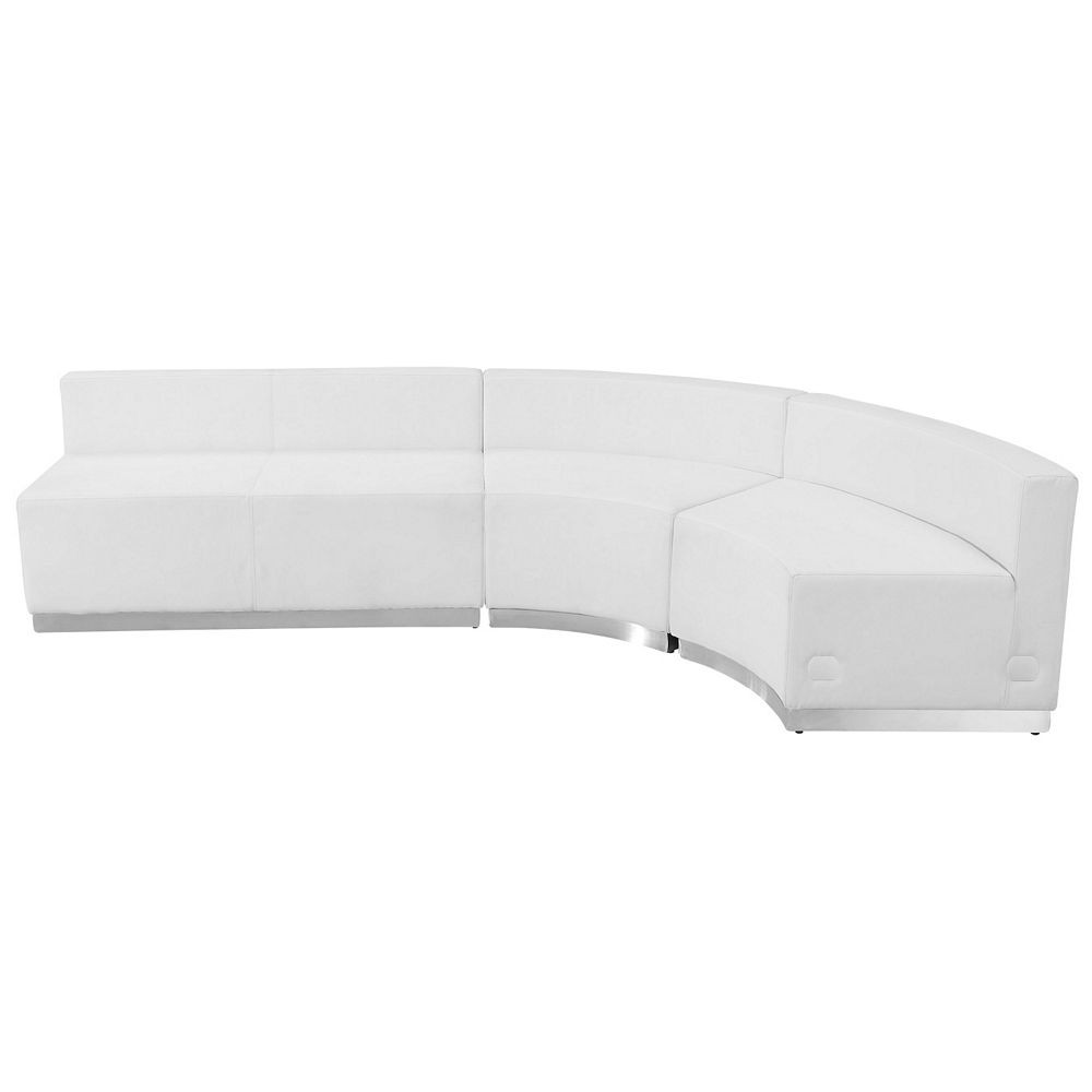 Flash Furniture ZB-803-750-SET-WH-GG HERCULES Alon Series White Leather Reception Loveseat Configuration, 3-Pieces