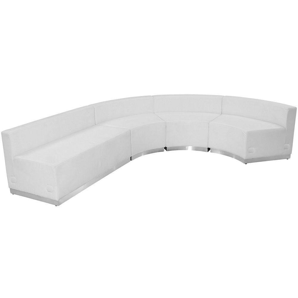 Flash Furniture ZB-803-760-SET-WH-GG HERCULES Alon Series White Leather Reception Loveseat Configuration, 4-Pieces