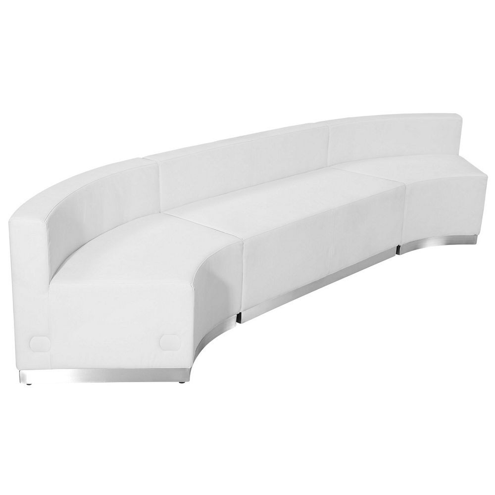 Flash Furniture ZB-803-770-SET-WH-GG HERCULES Alon Series White Leather Reception Loveseat Configuration, 3-Pieces