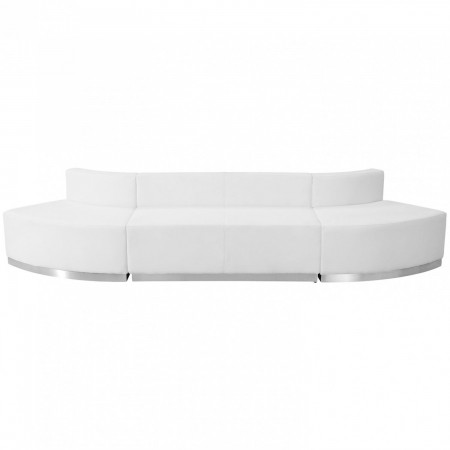 Flash Furniture ZB-803-780-SET-WH-GG HERCULES Alon Series White Leather Reception Loveseat Configuration, 3-Pieces