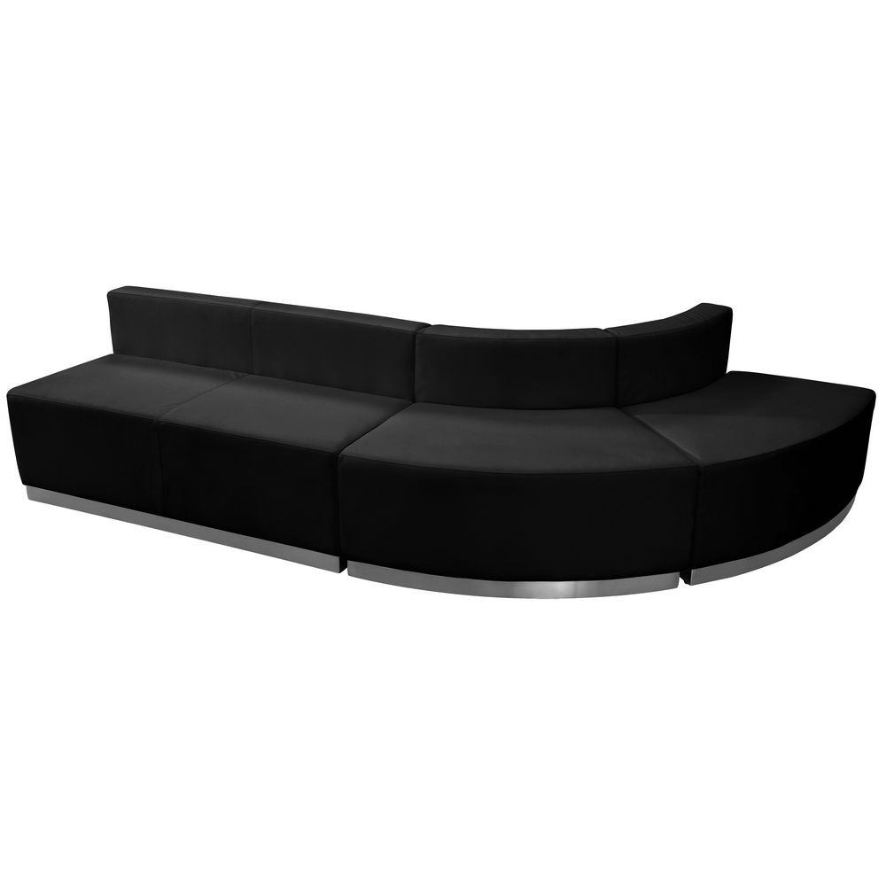 Flash Furniture ZB-803-790-SET-BK-GG HERCULES Alon Series Black Leather Reception Loveseat Configuration, 3-Pieces