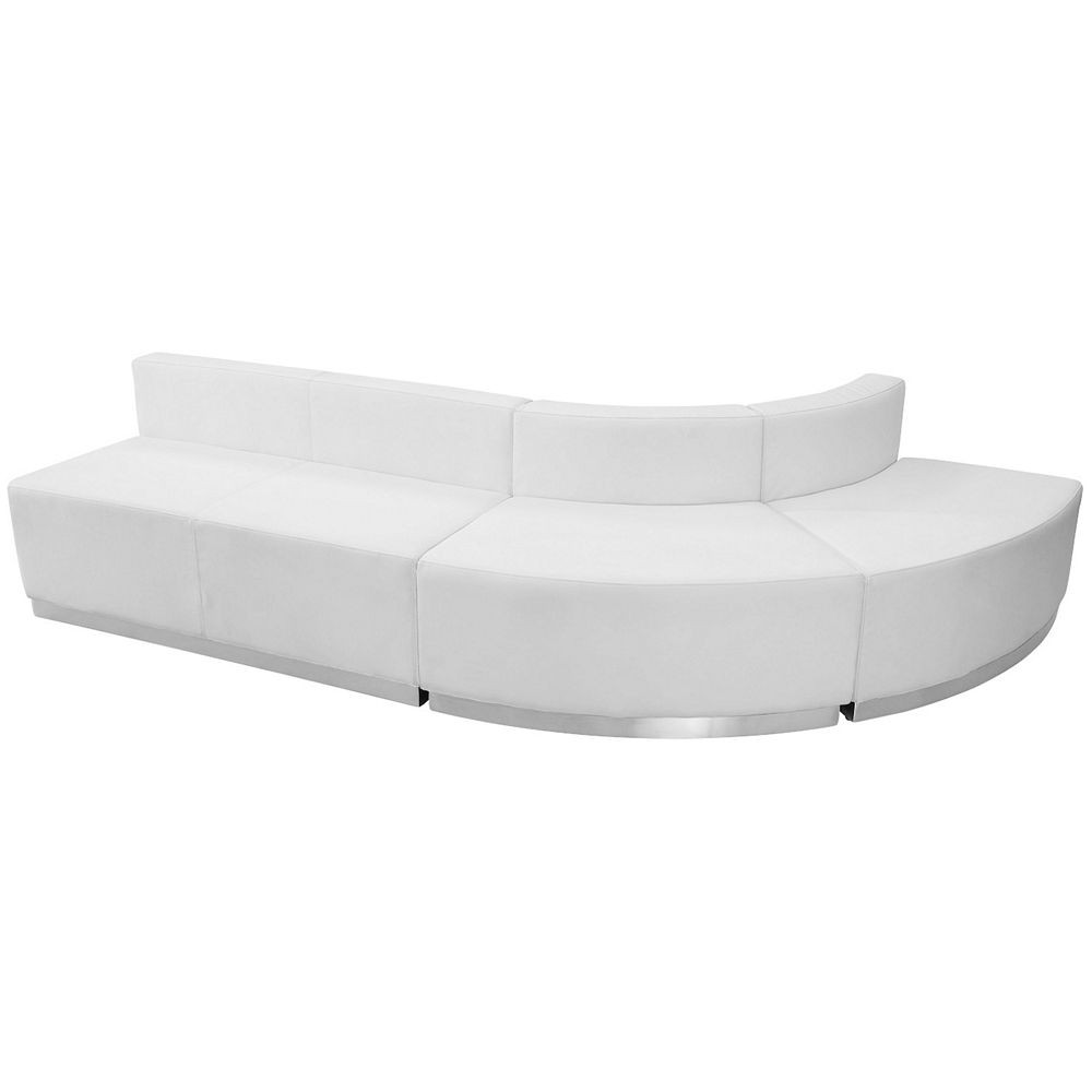 Flash Furniture ZB-803-790-SET-WH-GG HERCULES Alon Series White Leather Reception Loveseat Configuration, 3-Pieces