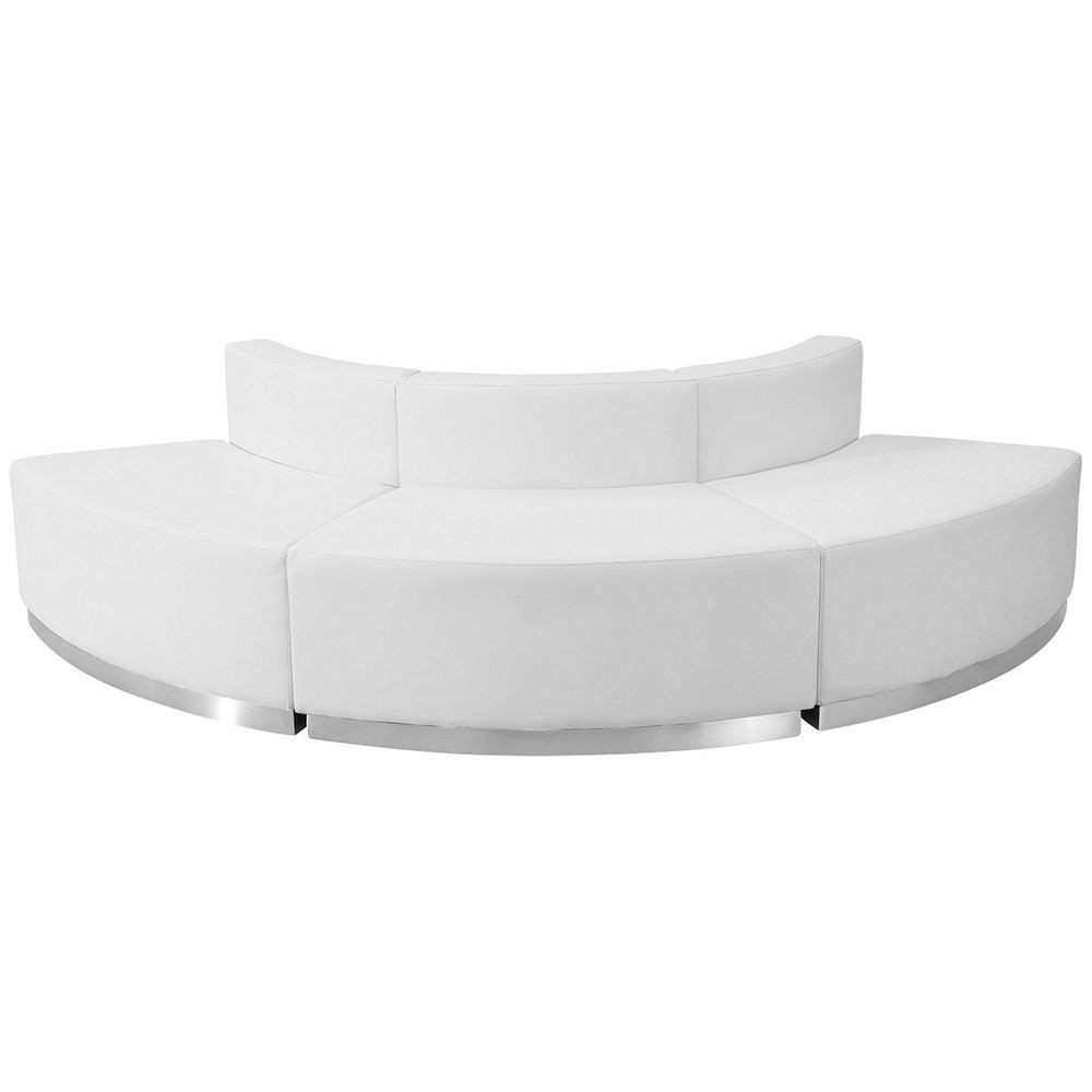 Flash Furniture ZB-803-800-SET-WH-GG HERCULES Alon Series White Leather Reception Configuration, 3-Pieces