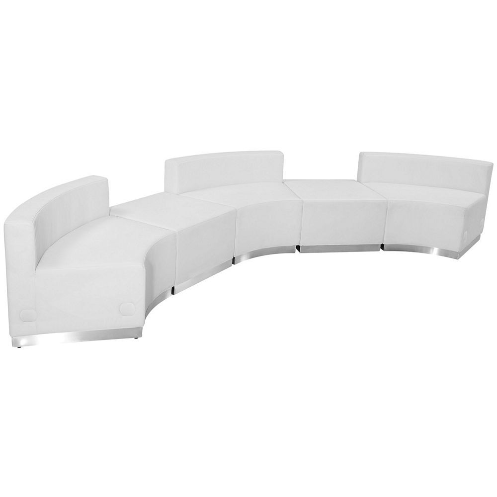 Flash Furniture ZB-803-810-SET-WH-GG HERCULES Alon Series White Leather Reception Ottoman Configuration, 5-Pieces