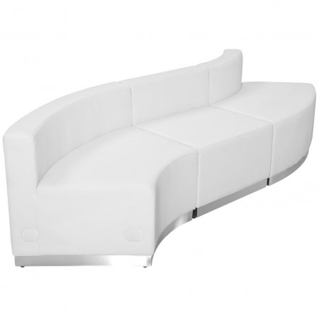 Flash Furniture ZB-803-830-SET-WH-GG HERCULES Alon Series White Leather Reception Configuration, 3-Pieces