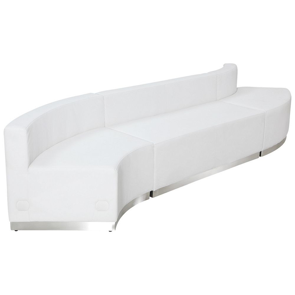 Flash Furniture ZB-803-850-SET-WH-GG HERCULES Alon Series White Leather Reception Configuration, 3-Pieces