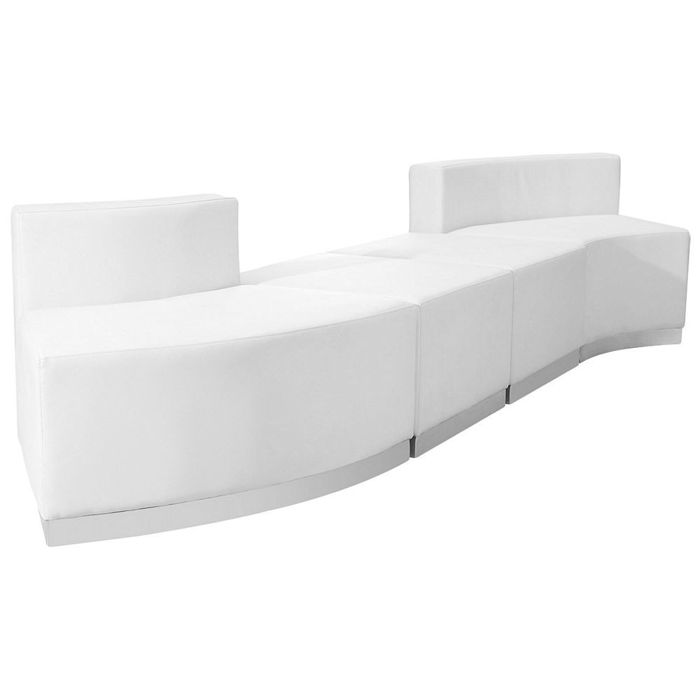 Flash Furniture ZB-803-860-SET-WH-GG HERCULES Alon Series White Leather Reception Configuration, 4-Pieces