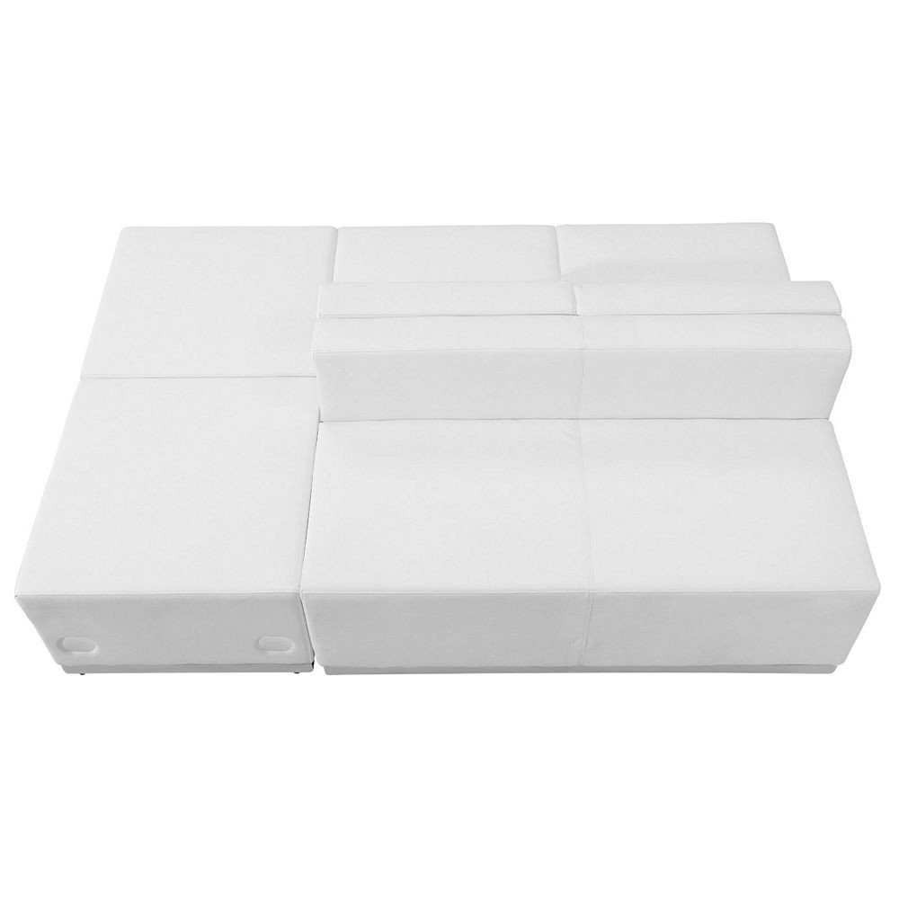 Flash Furniture ZB-803-880-SET-WH-GG HERCULES Alon Series White Leather Reception Ottoman Configuration, 4-Pieces