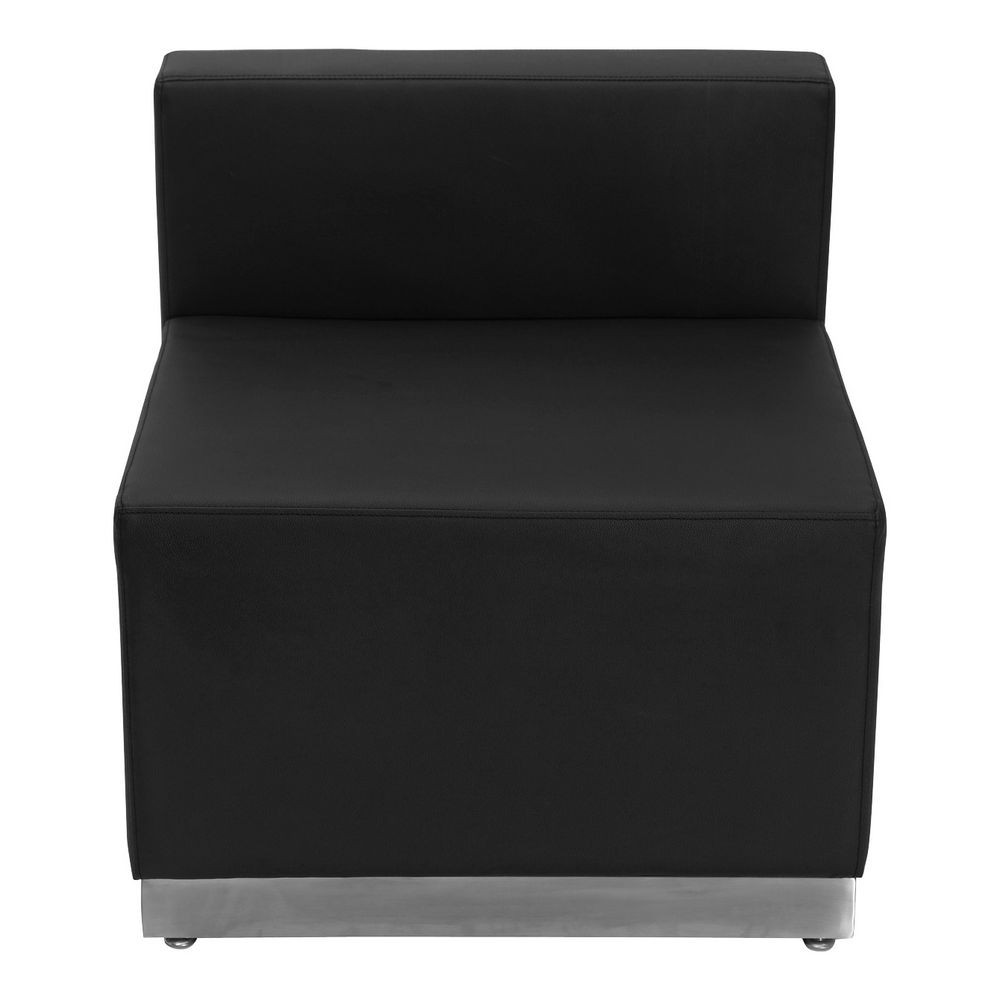 Flash Furniture ZB-803-CHAIR-BK-GG HERCULES Alon Series Black Leather Chair with Brushed Stainless Steel Base