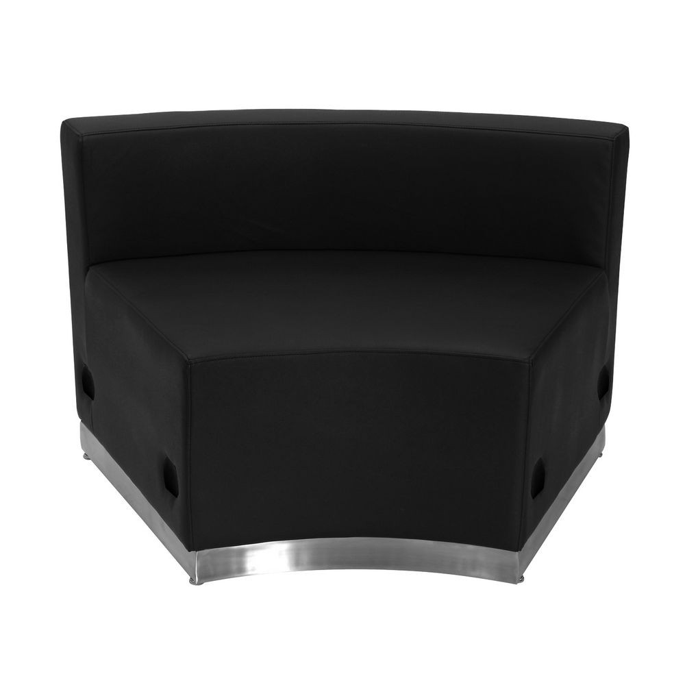 Flash Furniture ZB-803-INSEAT-BK-GG HERCULES Alon Series Black Leather Concave Chair with Brushed Stainless Steel Base