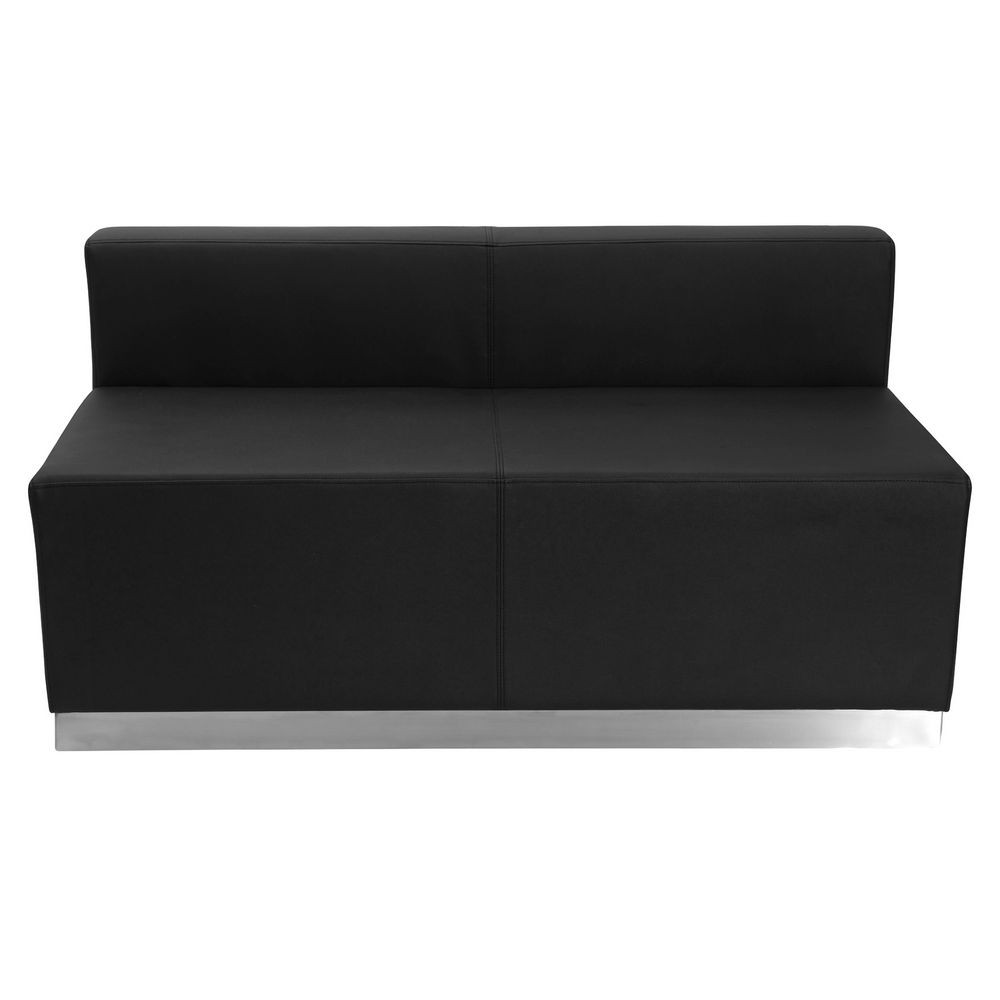 Flash Furniture ZB-803-LS-BK-GG HERCULES Alon Series Black Leather Loveseat with Brushed Stainless Steel Base