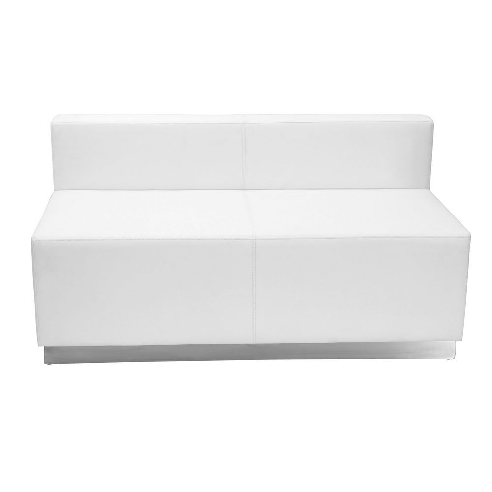 Flash Furniture ZB-803-LS-WH-GG HERCULES Alon Series White Leather Loveseat with Brushed Stainless Steel Base