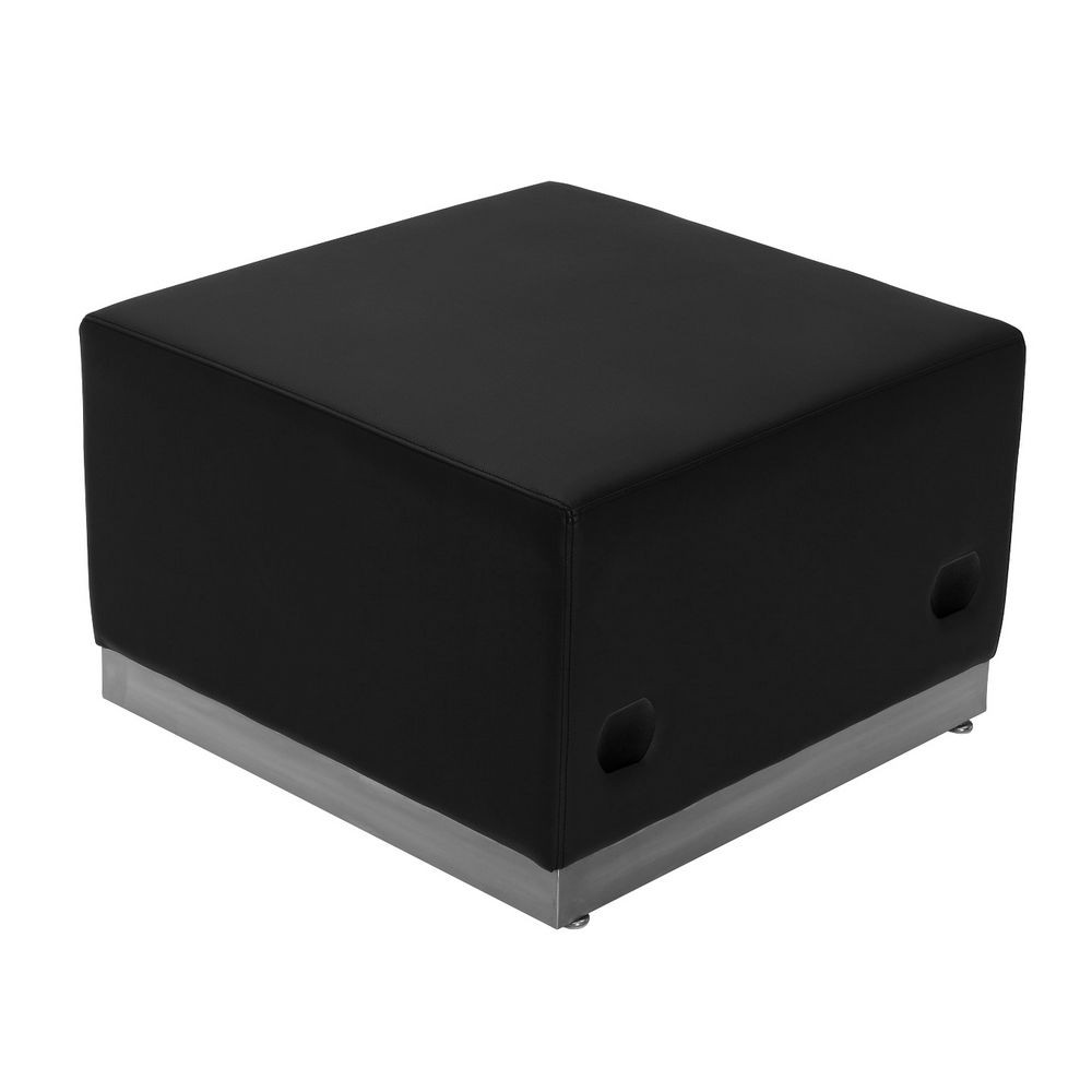 Flash Furniture ZB-803-OTTOMAN-BK-GG HERCULES Alon Series Black Leather Ottoman with Brushed Stainless Steel Base