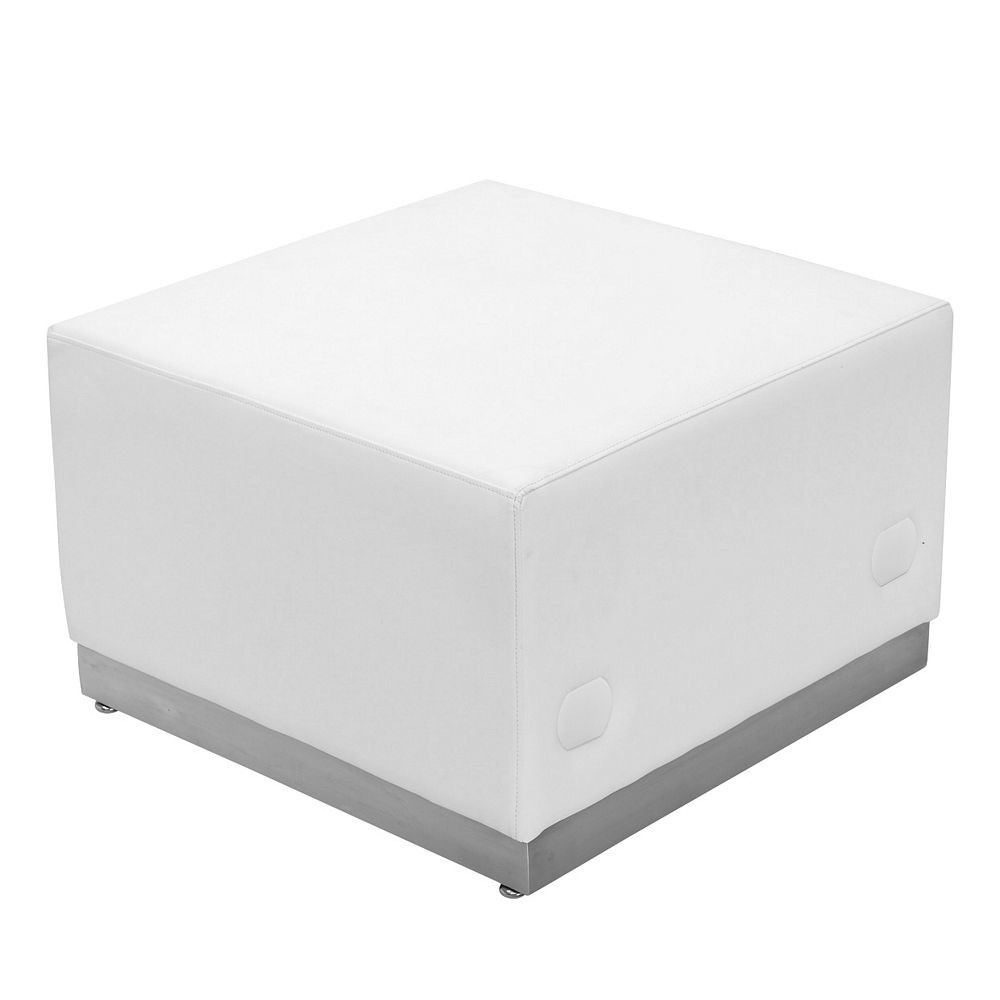 Flash Furniture ZB-803-OTTOMAN-WH-GG HERCULES Alon Series White Leather Ottoman with Brushed Stainless Steel Base