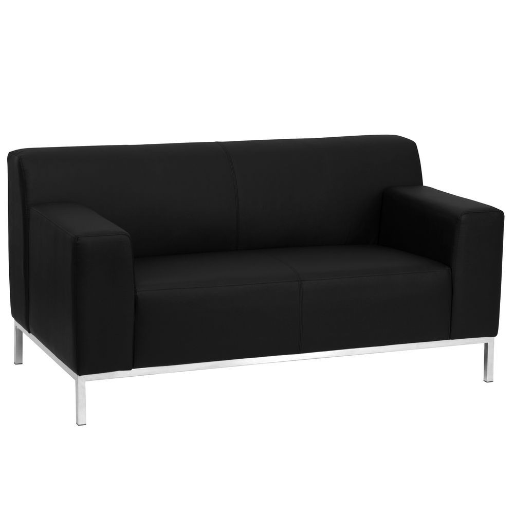 Flash Furniture ZB-DEFINITY-8009-LS-BK-GG HERCULES Definity Series Contemporary Black Leather Love Seat with Stainless Steel Frame