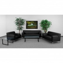 Flash Furniture ZB-DEFINITY-8009-SET-BK-GG HERCULES Definity Series Reception Set