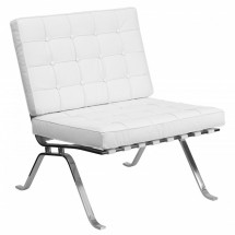 Flash Furniture ZB-FLASH-801-CHAIR-WHITE-GG HERCULES Flash Series Leather Lounge Chair with Curved Legs, White