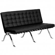 Flash Furniture ZB-FLASH-801-LS-BK-GG HERCULES Flash Series Leather Love Seat with Curved Legs, Black