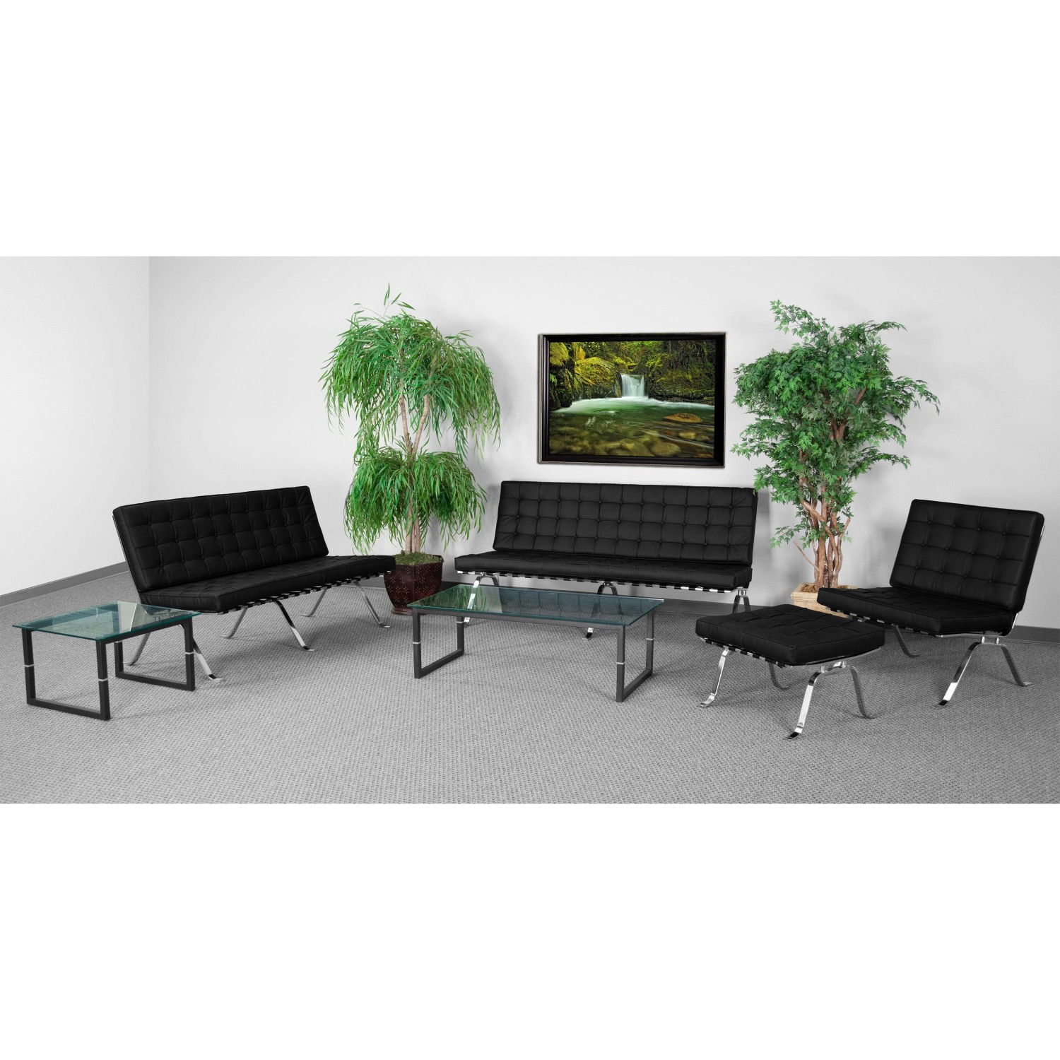 Flash Furniture ZB-FLASH-801-SET-BK-GG HERCULES Flash Series Black Reception Set