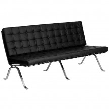 Flash Furniture ZB-FLASH-801-SOFA-BK-GG HERCULES Flash Series Black Leather Sofa with Curved Legs