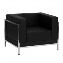 Flash Furniture ZB-IMAG-CHAIR-GG HERCULES Imagination Series Contemporary Black Leather Chair with Encasing Frame
