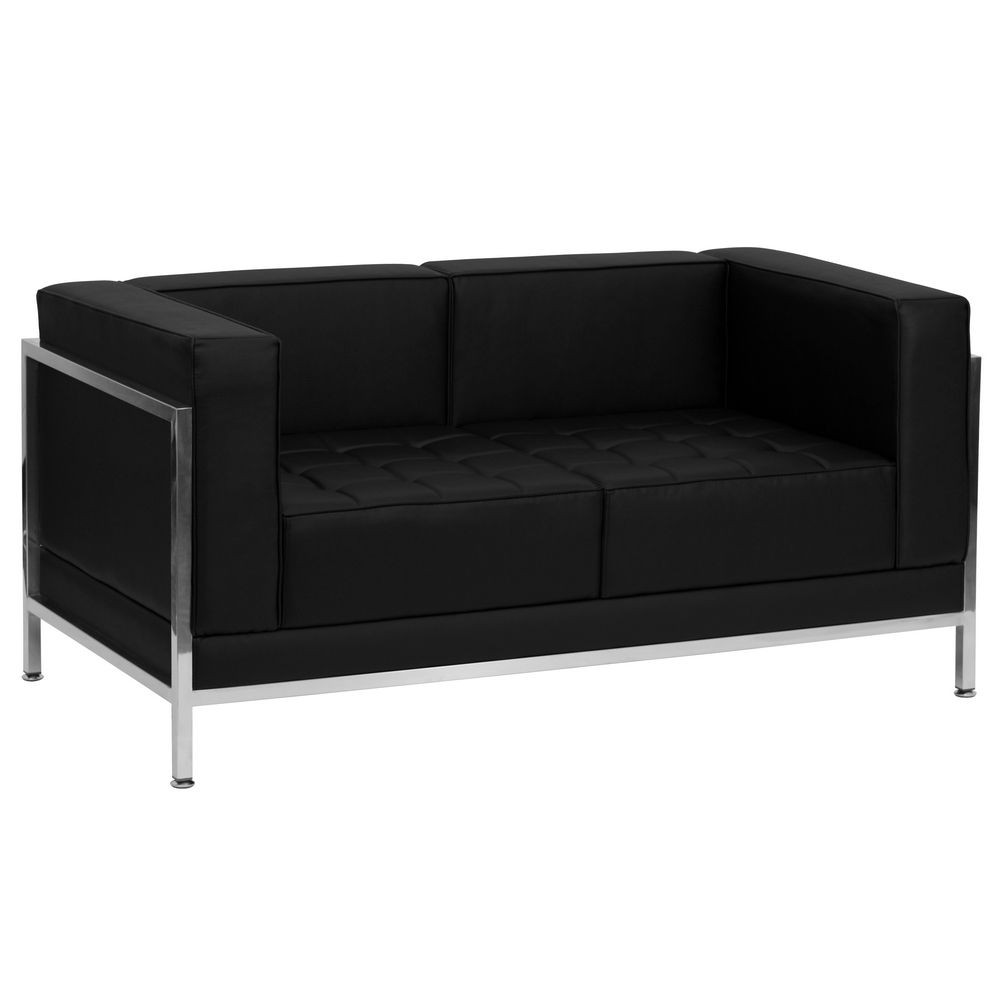 Flash Furniture ZB-IMAG-LS-GG HERCULES Imagination Series Contemporary Black Leather Love Seat with Encasing Frame