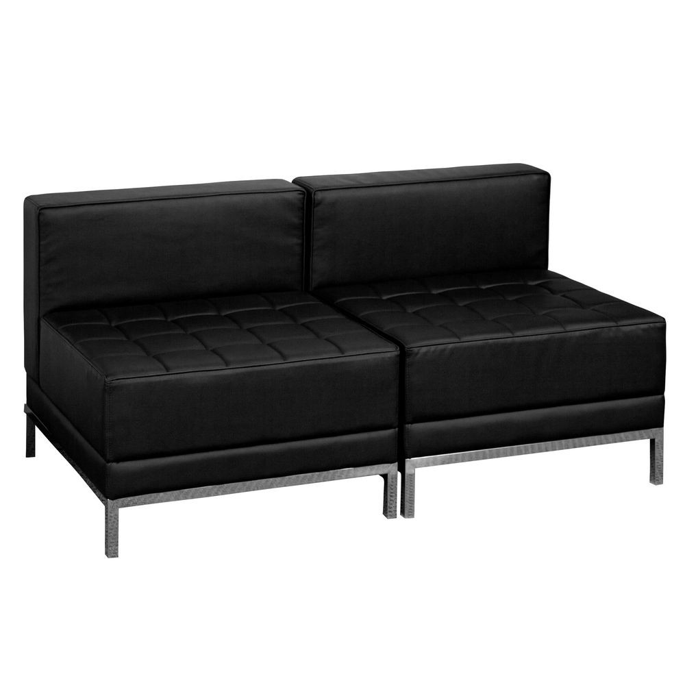 Flash Furniture ZB-IMAG-MIDCH-2-GG HERCULES Imagination Series Black Leather Lounge Set, 2 Piece