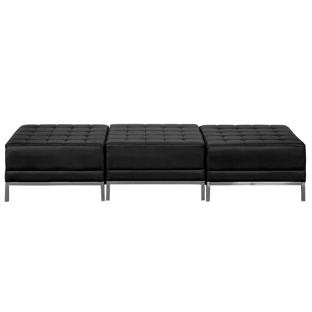 Flash Furniture ZB-IMAG-OTTO-3-GG HERCULES Imagination Series Black Leather Three Seat Bench