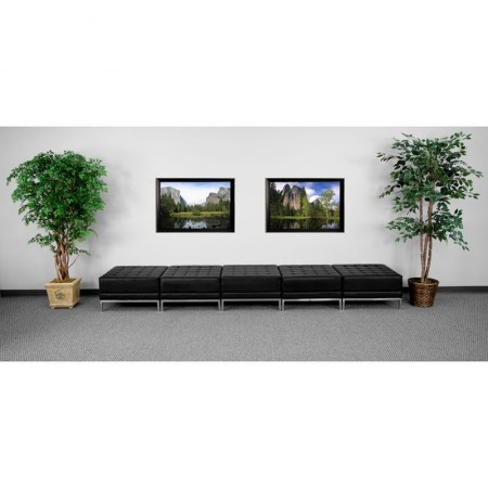 Flash Furniture ZB-IMAG-OTTO-5-GG HERCULES Imagination Series Black Leather Five Seat Bench