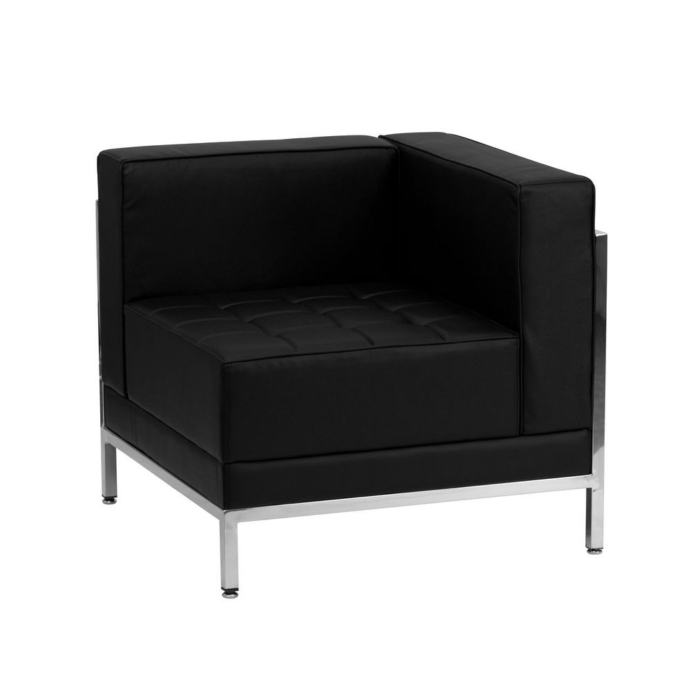 Flash Furniture ZB-IMAG-RIGHT-CORNER-GG HERCULES Imagination Series Contemporary Black Leather Right Corner Chair with Encasing Frame