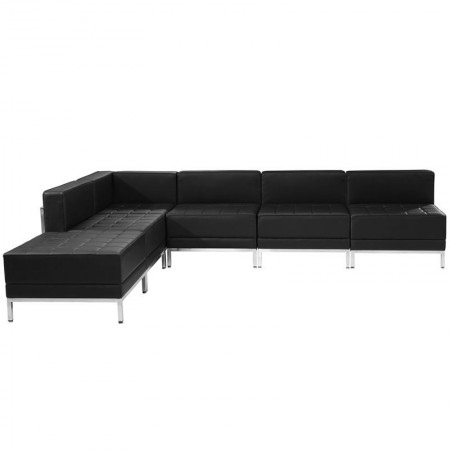 Flash Furniture ZB-IMAG-SECT-SET10-GG HERCULES Imagination Series Black Leather Sectional Configuration, 6 Piece